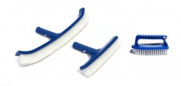 Poolbürsten Set 3-teilig inkl. schmaler Bodenbürsten, breiter geschwungener Bodenbürste & Handbürste