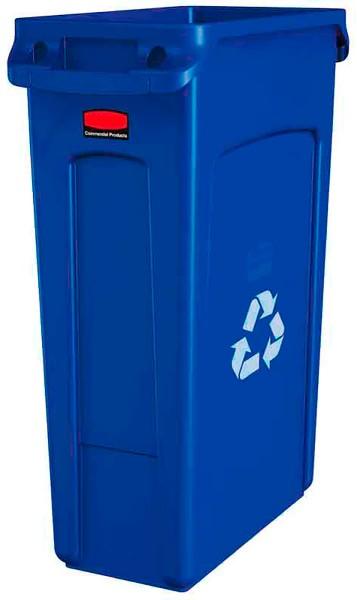 Abfalleimer Kunststoff 87l schmal Blau