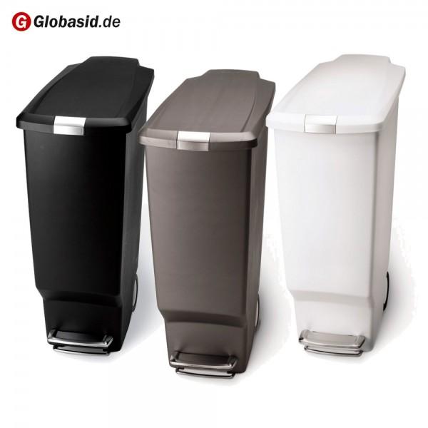 Trittmülleimer schmal Kunststoff 40 Liter mit Fußpedal und Rollen