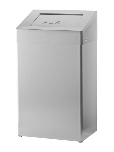 SanTRAL Abfallbehäler 50 Liter Edelstahl, mit Push-Deckel und Beutelhalter