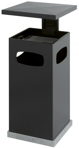 Ascher-Papierkorb mit abnehmbarem Dach - Anthrazit 70 Liter