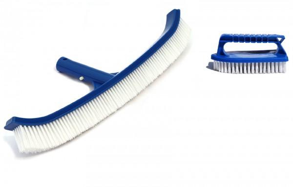 Poolbürsten Set 2-teilig inkl. geschwungener Bodenbürste & Handbürste