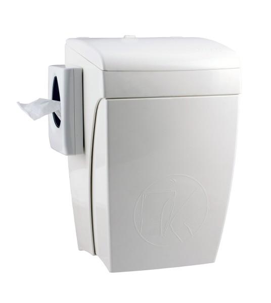 Hygiene-Abfallbehälter 8 Liter mit Knie-Bedienung Kunststoff weiß