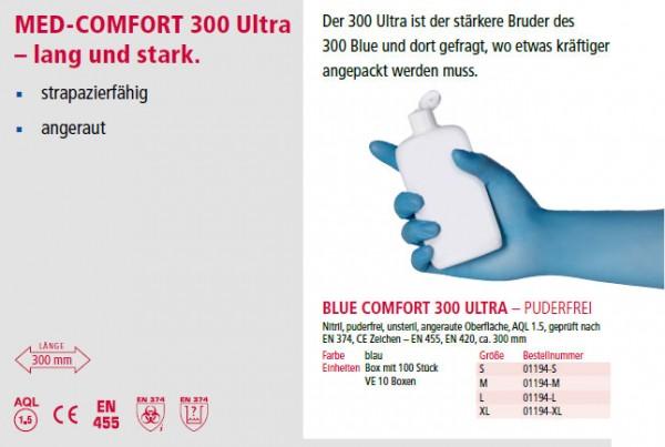 Nitrilhandschuhe Blau 300 mm, Ultra -Extra lang, VE=10x100 St.