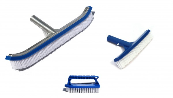 Poolbürsten Set 3-teilig inkl. aluverstärkter Bodenbürste, kurzer Bodenbürste & Handbürste