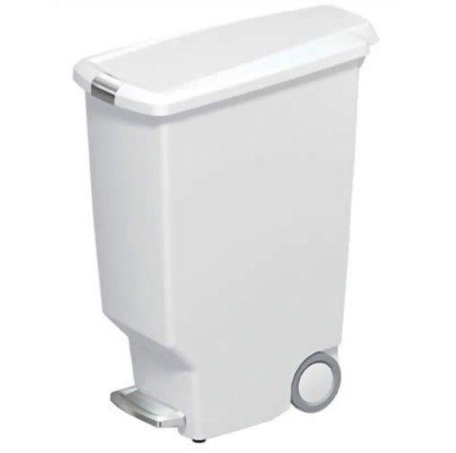 Trittmülleimer schmal Kunststoff 40l Weiß